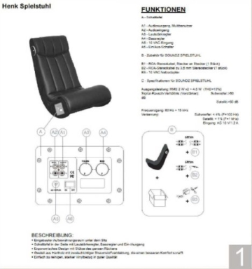 AC Design Furniture 8553 Musiksessel Henk, Bezug Kunstleder mit eingebautem Soundsystem, schwarz - 7